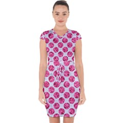 Circles2 White Marble & Pink Marble (r) Capsleeve Drawstring Dress