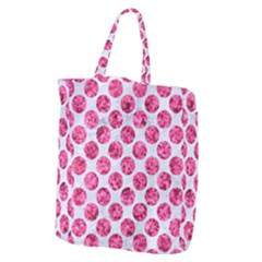 Circles2 White Marble & Pink Marble (r) Giant Grocery Zipper Tote