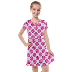 Circles2 White Marble & Pink Marble (r) Kids  Cross Web Dress