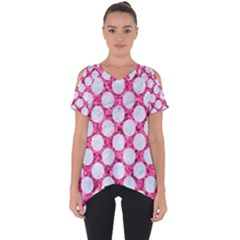 Circles2 White Marble & Pink Marble Cut Out Side Drop Tee