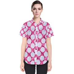 Circles2 White Marble & Pink Marble Women s Short Sleeve Shirt