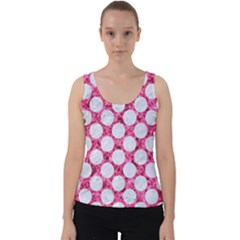 Circles2 White Marble & Pink Marble Velvet Tank Top