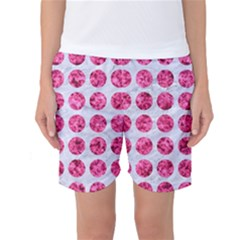 Circles1 White Marble & Pink Marble (r) Women s Basketball Shorts