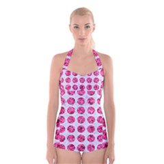 Circles1 White Marble & Pink Marble (r) Boyleg Halter Swimsuit