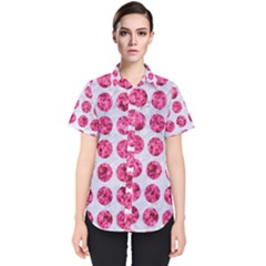 Circles1 White Marble & Pink Marble (r) Women s Short Sleeve Shirt