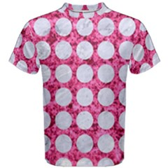 Circles1 White Marble & Pink Marble Men s Cotton Tee