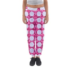 Circles1 White Marble & Pink Marble Women s Jogger Sweatpants