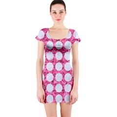 Circles1 White Marble & Pink Marble Short Sleeve Bodycon Dress