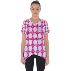 Circles1 White Marble & Pink Marble Cut Out Side Drop Tee