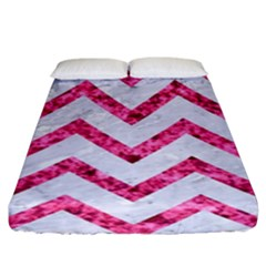 Chevron9 White Marble & Pink Marble (r) Fitted Sheet (king Size)