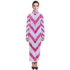 Chevron9 White Marble & Pink Marble (r) Turtleneck Maxi Dress