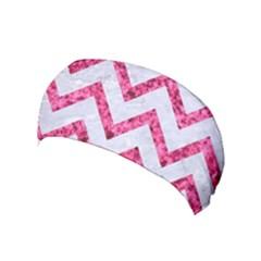 Chevron9 White Marble & Pink Marble (r) Yoga Headband