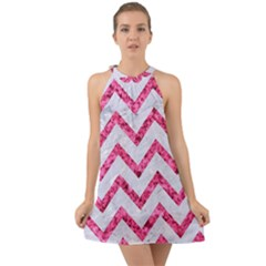 Chevron9 White Marble & Pink Marble (r) Halter Tie Back Chiffon Dress