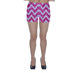 Chevron9 White Marble & Pink Marble Skinny Shorts