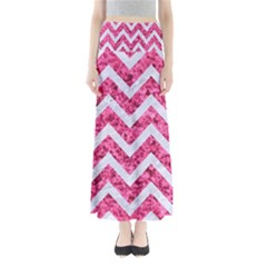Chevron9 White Marble & Pink Marble Full Length Maxi Skirt