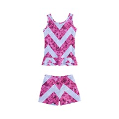 Chevron9 White Marble & Pink Marble Kid s Boyleg Swimsuit