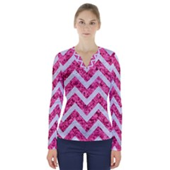 Chevron9 White Marble & Pink Marble V Neck Long Sleeve Top