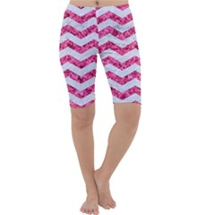 Chevron3 White Marble & Pink Marble Cropped Leggings