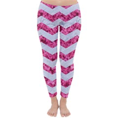 Chevron3 White Marble & Pink Marble Classic Winter Leggings