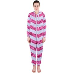 Chevron3 White Marble & Pink Marble Hooded Jumpsuit (ladies)