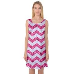 Chevron3 White Marble & Pink Marble Sleeveless Satin Nightdress