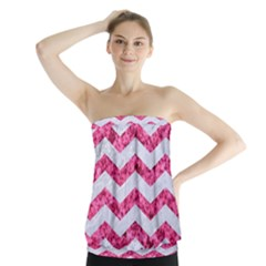 Chevron3 White Marble & Pink Marble Strapless Top
