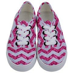Chevron3 White Marble & Pink Marble Kids  Classic Low Top Sneakers