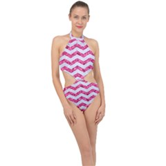 Chevron3 White Marble & Pink Marble Halter Side Cut Swimsuit