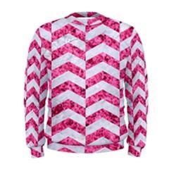 Chevron2 White Marble & Pink Marble Men s Sweatshirt