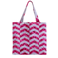 Chevron2 White Marble & Pink Marble Zipper Grocery Tote Bag