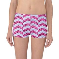 Chevron2 White Marble & Pink Marble Reversible Boyleg Bikini Bottoms