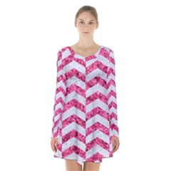 Chevron2 White Marble & Pink Marble Long Sleeve Velvet V Neck Dress