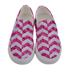 Chevron2 White Marble & Pink Marble Women s Canvas Slip Ons