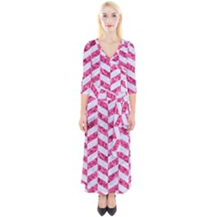Chevron1 White Marble & Pink Marble Quarter Sleeve Wrap Maxi Dress