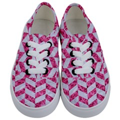 Chevron1 White Marble & Pink Marble Kids  Classic Low Top Sneakers