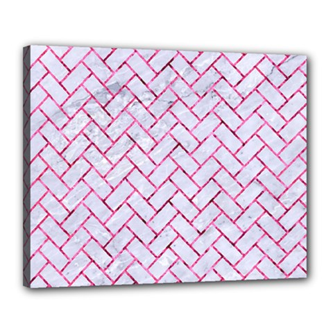 Brick2 White Marble & Pink Marble (r) Canvas 20  X 16