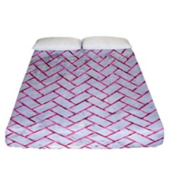 Brick2 White Marble & Pink Marble (r) Fitted Sheet (california King Size)