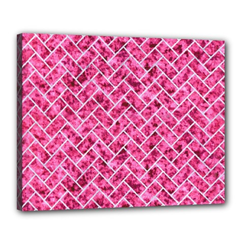 Brick2 White Marble & Pink Marble Canvas 20  X 16