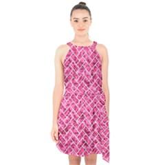 Brick2 White Marble & Pink Marble Halter Collar Waist Tie Chiffon Dress