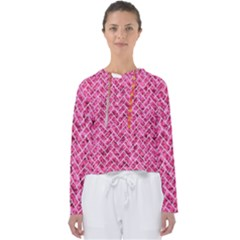 Brick2 White Marble & Pink Marble Women s Slouchy Sweat