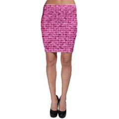 Brick1 White Marble & Pink Marble Bodycon Skirt