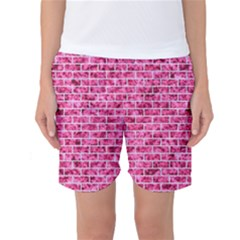 Brick1 White Marble & Pink Marble Women s Basketball Shorts