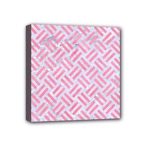 Woven2 White Marble & Pink Watercolor (r) Mini Canvas 4  X 4