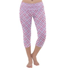 Woven2 White Marble & Pink Watercolor (r) Capri Yoga Leggings