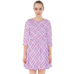 Woven2 White Marble & Pink Watercolor (r) Smock Dress