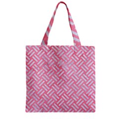Woven2 White Marble & Pink Watercolor Zipper Grocery Tote Bag