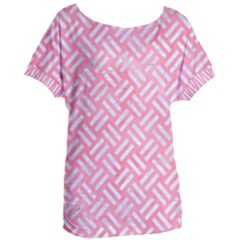 Woven2 White Marble & Pink Watercolor Women s Oversized Tee