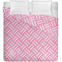 Woven2 White Marble & Pink Watercolor Duvet Cover Double Side (king Size)