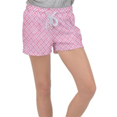 Woven2 White Marble & Pink Watercolor Women s Velour Lounge Shorts