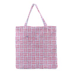 Woven1 White Marble & Pink Watercolor (r) Grocery Tote Bag